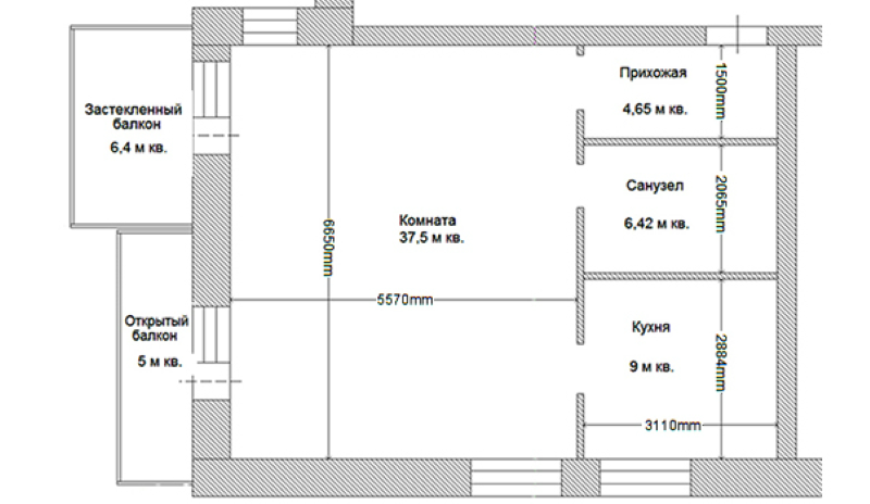 План перепланировки однокомнатной квартиры в двухкомнатную.