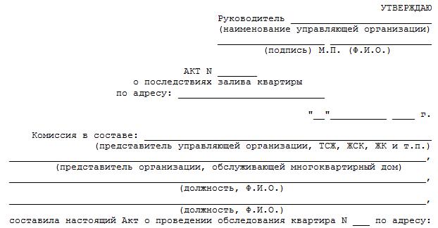образец акта о затоплении документов в офисе