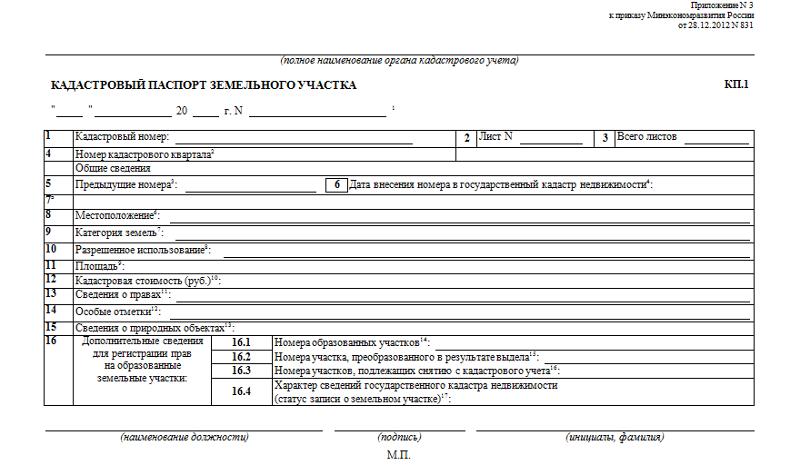 Образец кадастрового паспорта земельного участка, КП1