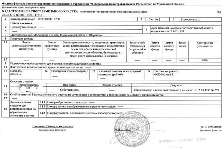 Кадастровый паспорт земельного участка.