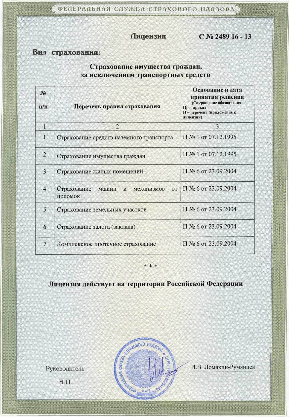 Лицензия на страхование имущества.