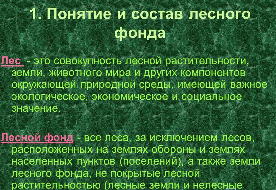 Состав лесного фонда.