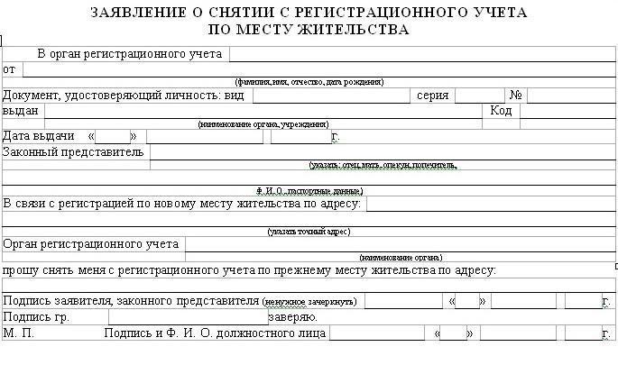 образец заявления на снятие с регистрационного учета по решению суда вызвал