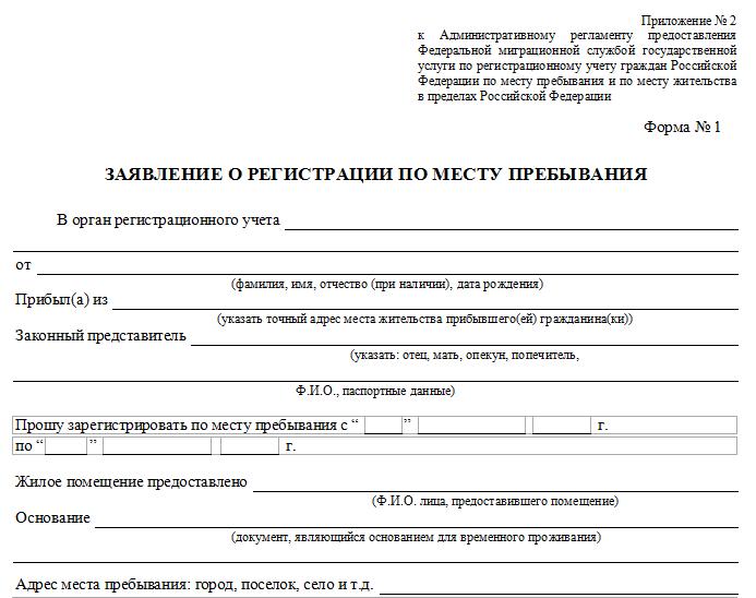 Образец заявления о регистрации по месту пребывания.