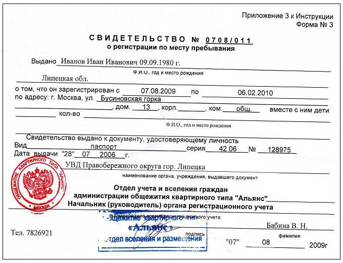 Свидетельство о временной регистрации.