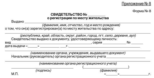 Бланк свидетельства о регистрации по месту жительства.