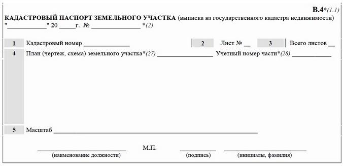 Пример кадастровой выписки.