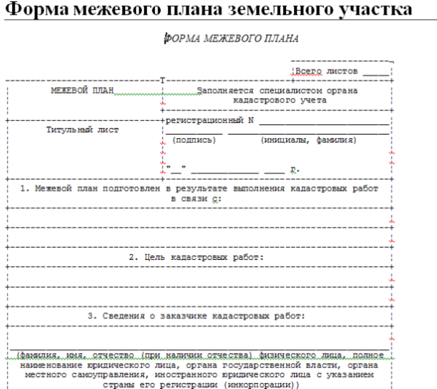 Пример межевального плана земельного участка.