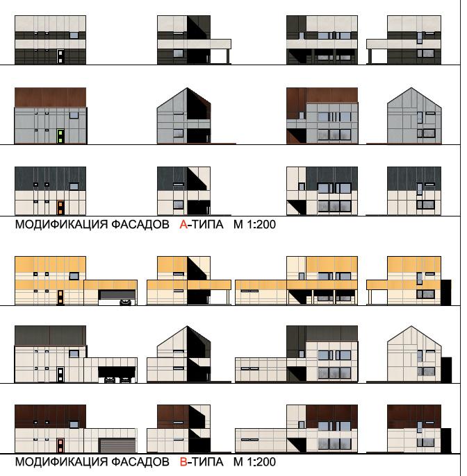 Примеры фасадов домов блокированной застройки.