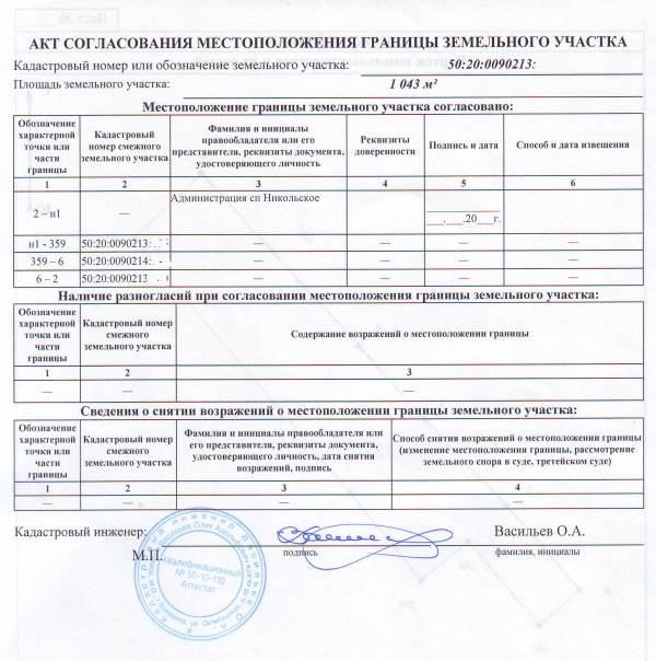 Форма акта о согласовании границ земельного участка.